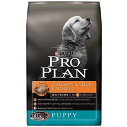 A bag of Purina Pro Plan Puppy Chicken and Rice