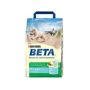 A bag of Purina Beta Puppy and Junior Chicken and Rice