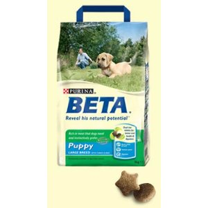 A bag of Purina Beta Puppy and Junior Large Breed