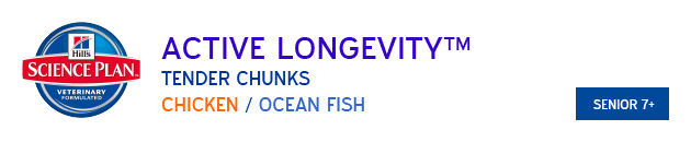 Hills Science Plan Active Longevity Tender Chunks Chicken and Ocean Fish available from VioVet