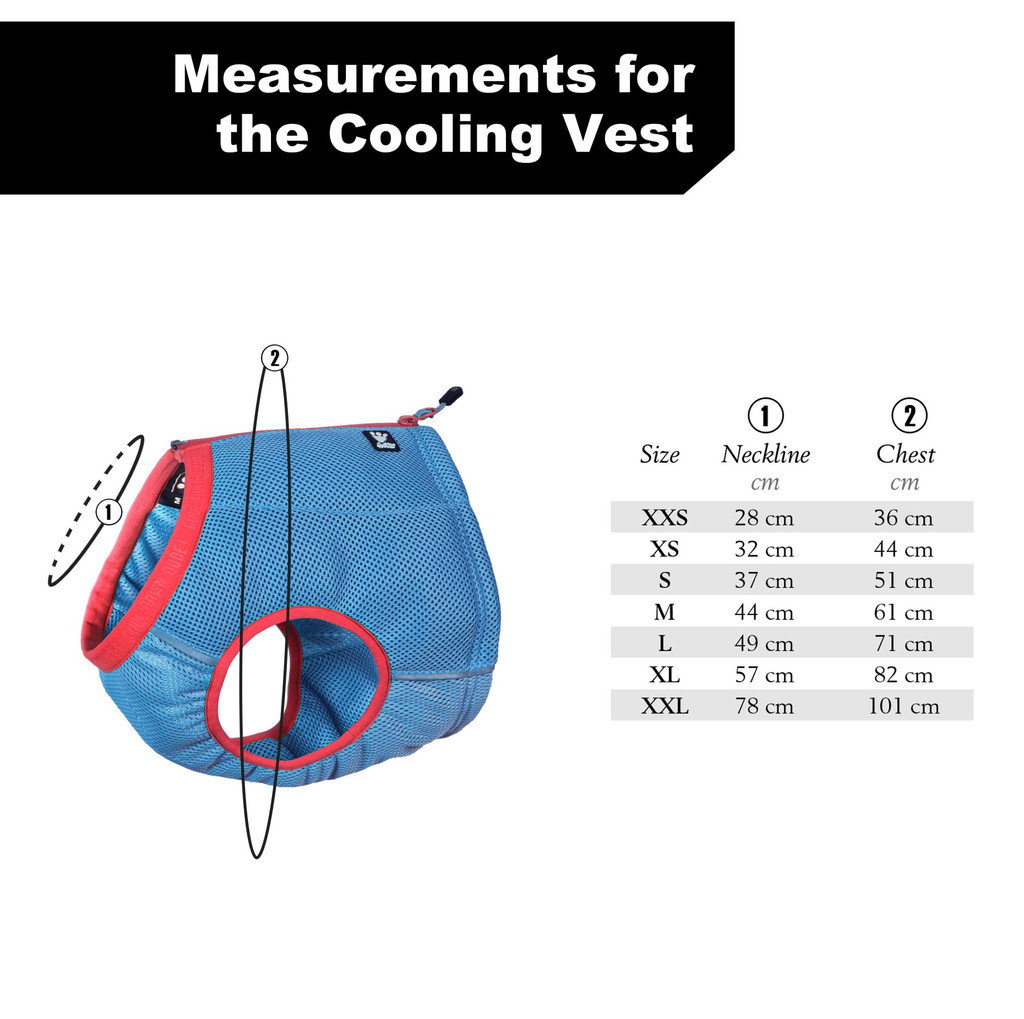 Hurrta Cooling Vest Size Guide