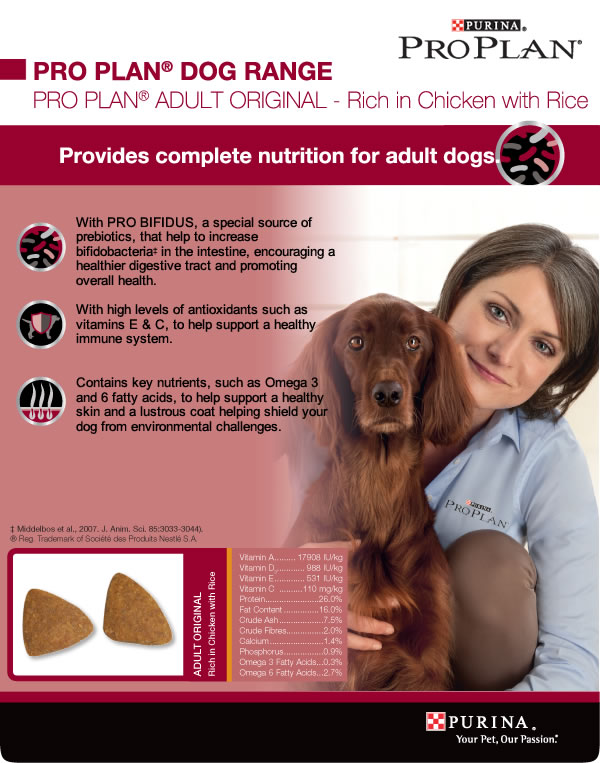 Pro Plan Chicken and Rice Dog Back of Pack