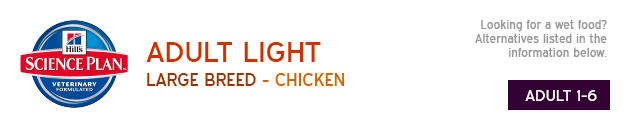 Hills Adult Light Large Breed Chicken available from VioVet