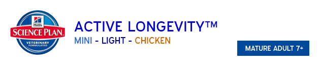 Hills Science Plan Active Longevity Mini Light Chicken available from VioVet